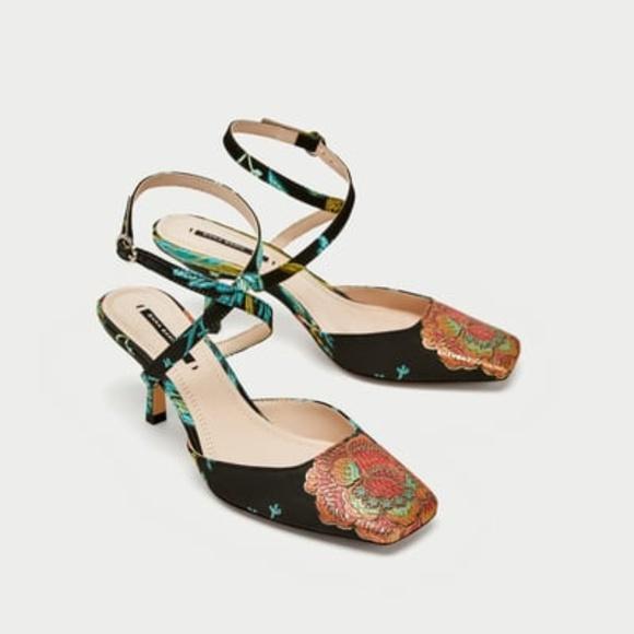 1da2a44210170 Zara Shoes | Embroidered Kitten Heel Slingback | Poshmark